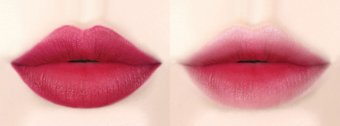 Image of lip swatch Innisfree Cotton Ink 05 burgundy tulip sunset color