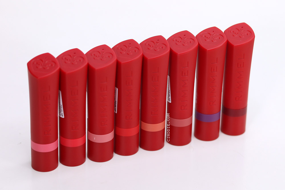 Image of Rimmel the only one matte lipstick cases lined up capped